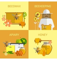Bee honey organic farm concept vector image