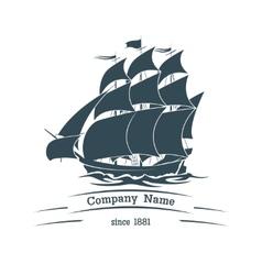 Big sail ship logo icon vector image vector image