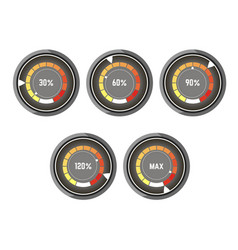 black round speedometer with colorful indicator of vector image