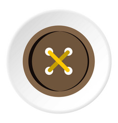 Brown clothing button icon circle vector