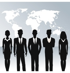 Business people teamwork world map background vector