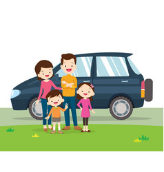 car and family portrait vector image