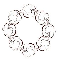 Circular shape with cumulus clouds vector