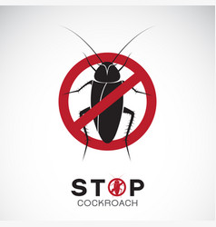 Cockroach in red stop sign on white background no vector
