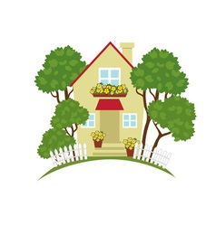 Cottage in the garden vector image