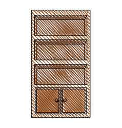 Cupboard furniture wooden decoration vector