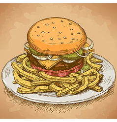 Engraving hamburger retro vector