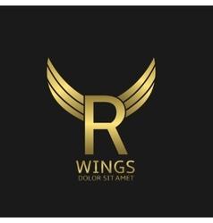 Golden R letter logo vector image vector image