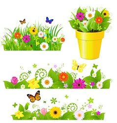 Green Grass With Flowers Set vector image