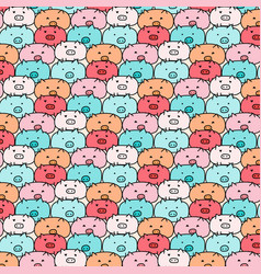 Hand drawn pig pattern vector