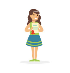 Happy girl holding her excellent report card vector