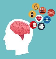 Human head brain healthcare medical icons vector