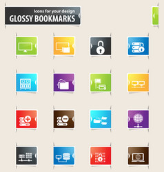 Internet server and network bookmark icons vector