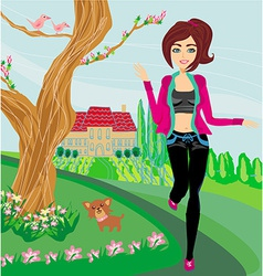 Jogging girl in spring vector image vector image