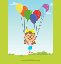 little girl with glasses flying with balloons vector image