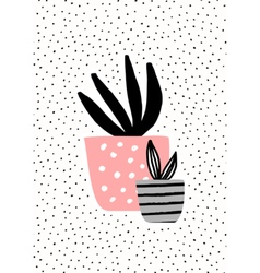 Pink and gray pots with plants vector