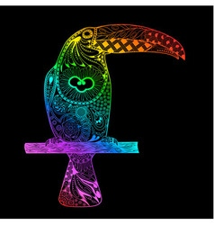 Rainbow gradient toucan vector