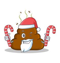 Santa with candy poop emoticon character cartoon vector