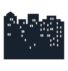 Silhouette of city at night vector