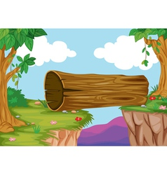 wood bridge in nature vector image vector image