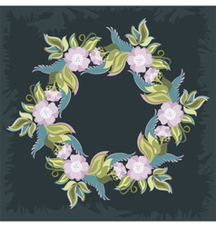 Wreath With Poppies And Leaves vector image