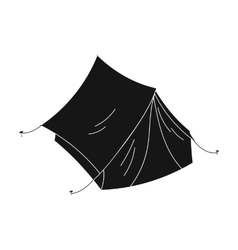 Yellow tent icon in black style isolated on white vector image vector image