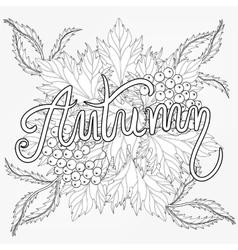 Zentangle stylized Autumn typographic background vector image