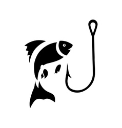 Fishing hook and fish icon simple style vector