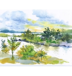 Watercolor autumn forest and lake landscape vector
