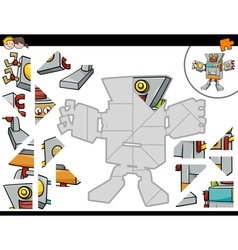 Jigsaw puzzle game with robot vector