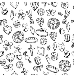 Seamless jewellery pattern with charms beads vector