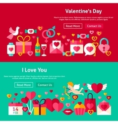 Happy valentine day website banners vector