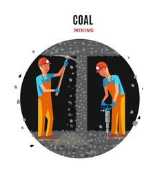 Coal extraction flat template vector