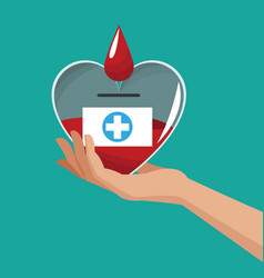 Hand holding heart donate blood vector