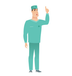Doctor with open mouth pointing finger up vector