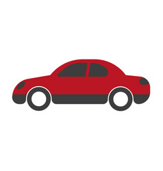 Red passenger car sedan close-up flat art design vector