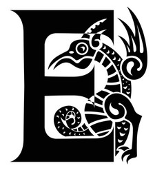 Gargoyle capital letter e vector