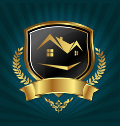Real estate symbol golden design vector