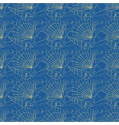 Seashells seamless pattern blue vector