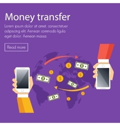 Mobile money transfer concept vector