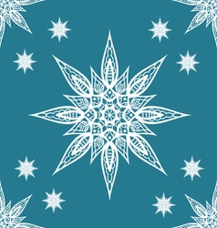 Christmas seamless pattern with snowflakes on blue vector