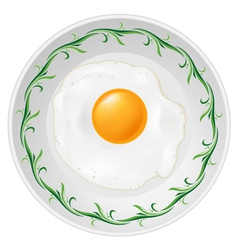 Fried egg on plate on white background vector