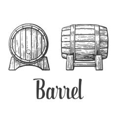 Wooden barrel set engraving vector image
