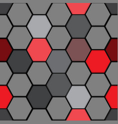 Abstract red gray hexagon pattern seamless vector