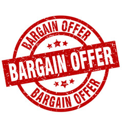 Bargain offer round red grunge stamp vector