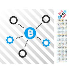 Bitcoin network nodes flat icon with bonus vector