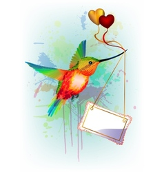 Card with rainbow humming-bird and place for text vector image vector image