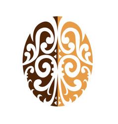 Coffee bean with maori motif vector