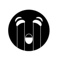 crying emoticon style pictogram vector image