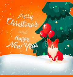 Funny dog with ballons merry christmas vector